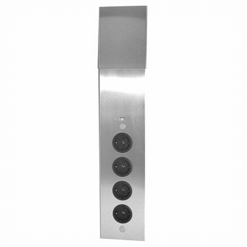 Energie-hoekzuil 4ST stopcontact rvs - Met USB lader.