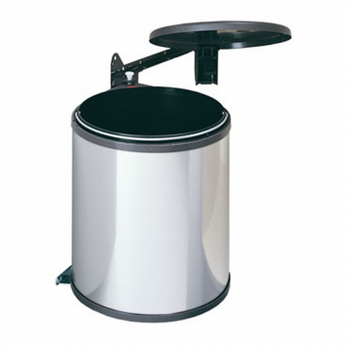 Hailo Big-Box 15 liter afvalemmer zilvergrijs-zwart.