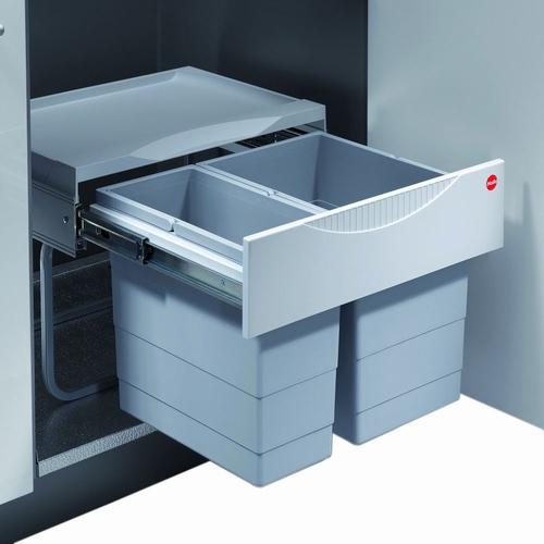 Hailo Tandem-S - Voluittrek 30 liter afvalemmer grijs-zilver