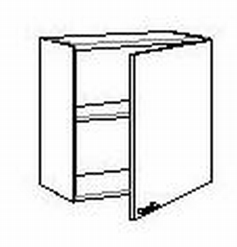 Bovenkast met 1 deur zonder front 50 tot 60 cm breed
