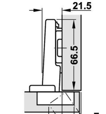 Blumscharnier 110° ø 35mm compl.met grondplaat