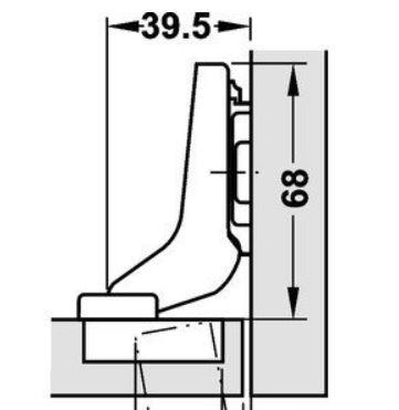 Blumscharnier 110° (inliggend) ø 35mm compl.met grondplaat