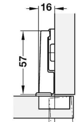 Blumscharnier 95° voor koelkast compl.met grondplaat
