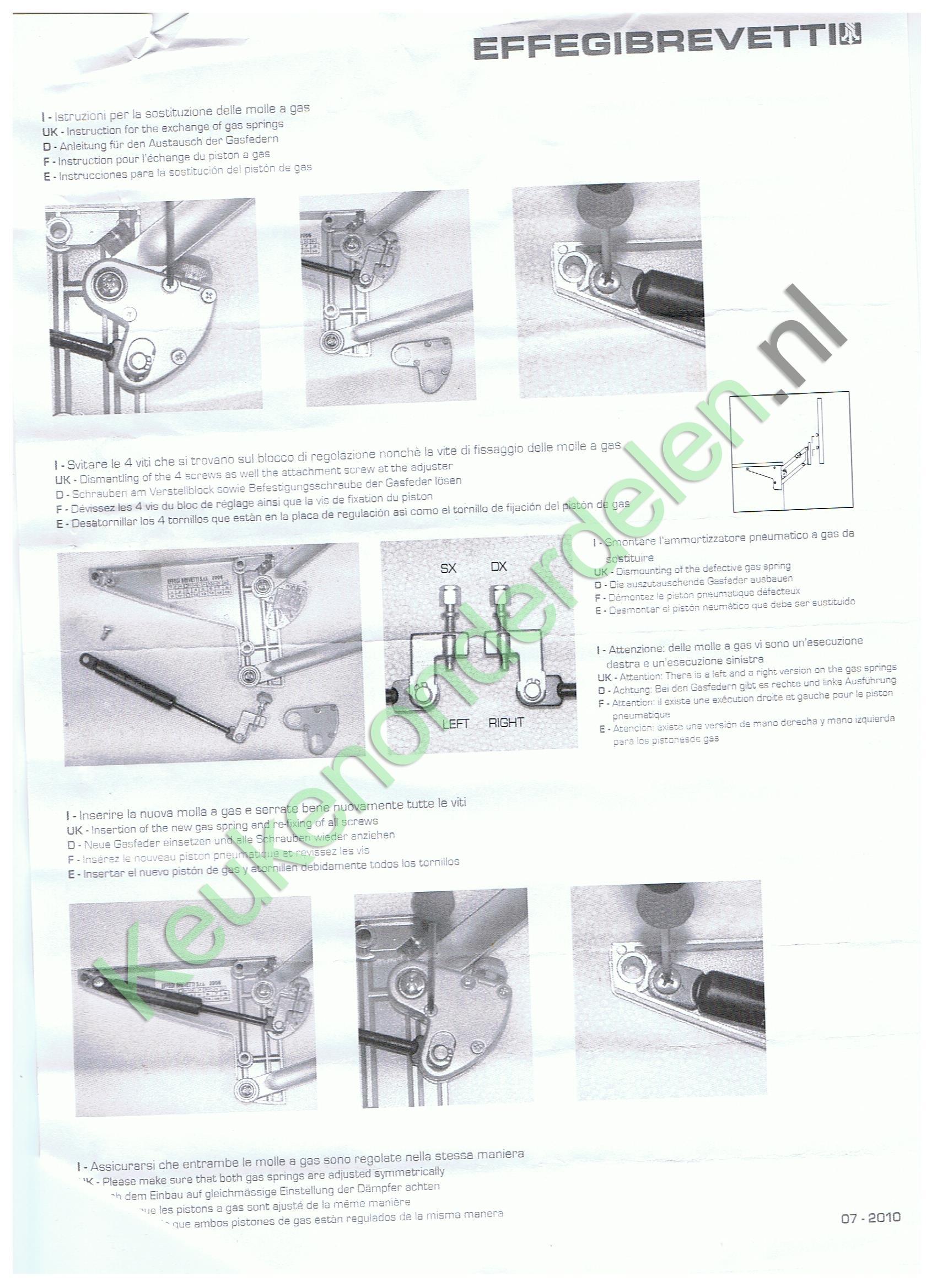 Gasveer Effegi Brevetti Stabilus 0450 N ( 2 gasveren  )VELA