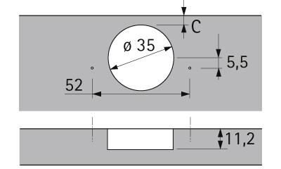 Hettich hoekkastscharnier voor 90° hoeken, set van 2