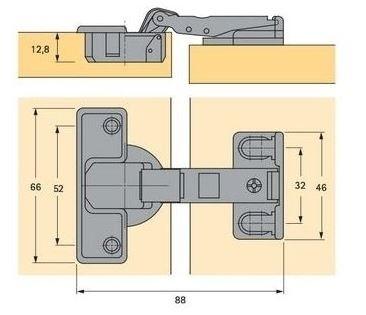 Hettich scharnier ø 35mm compl.met grondplaat (extra dun)