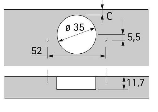 Hettich scharnier 110° ø 35mm compl.met grondplaat (clip)