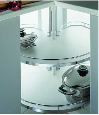 Kessebohmer REVO90 carrouselkast beslag compleet zilver-wit