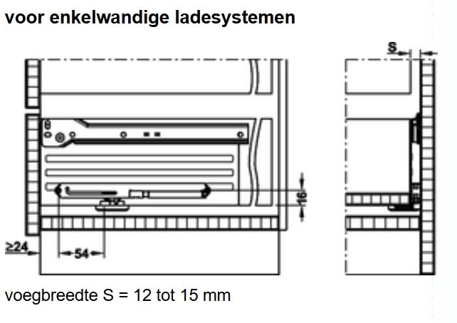 Lade demper voor bestaande lade rolgeleider/ metalen zijden