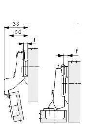 Mepla scharnier 110° (inliggend) ø 35mm compl.met grondplaat