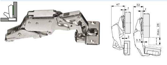 Mepla scharnier 170° ø 35mm compl.met grondplaat (clip)