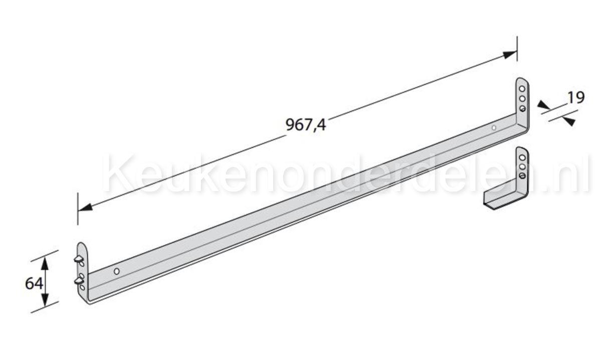 Ondersteuningslijst spoelkast (werkblad) 967,4x19x64 mm