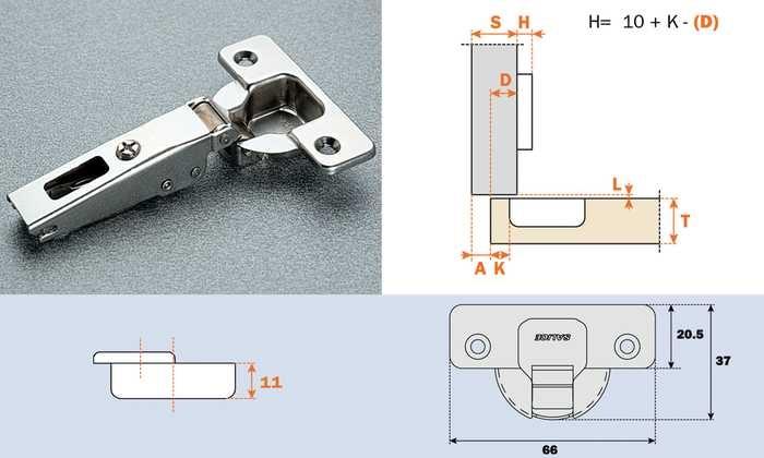 Salice scharnier 110° ø 35mm compl.met grondplaat (clip)
