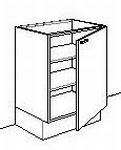 Onderkast zonder front 50 tot 60 cm breed d-max65cmh-max85cm (per stuk)