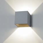 Box wandlamp inox-look. (per stuk)