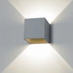 Box wandlamp zilvergrijs. (per stuk)