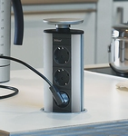 Evoline Powerport 3ST stopcontact rvs/alu/zwart.