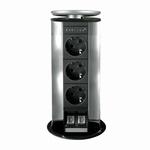 Evoline Powerport 3ST stopcontact alu -  data aansluiting.  (per stuk)