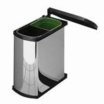 Hailo Duo-Automatic 16 liter afvalemmer rvs-zwart.