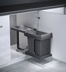 Hailo Solo-Automatic 20 liter afvalemmer grijs-zilver.