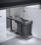 Hailo Solo-uittrek 20 liter afvalemmer grijs-zilver.