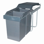 Hailo Tandem 1 - Uittrek 30 liter afvalemmer grijs -zilver.